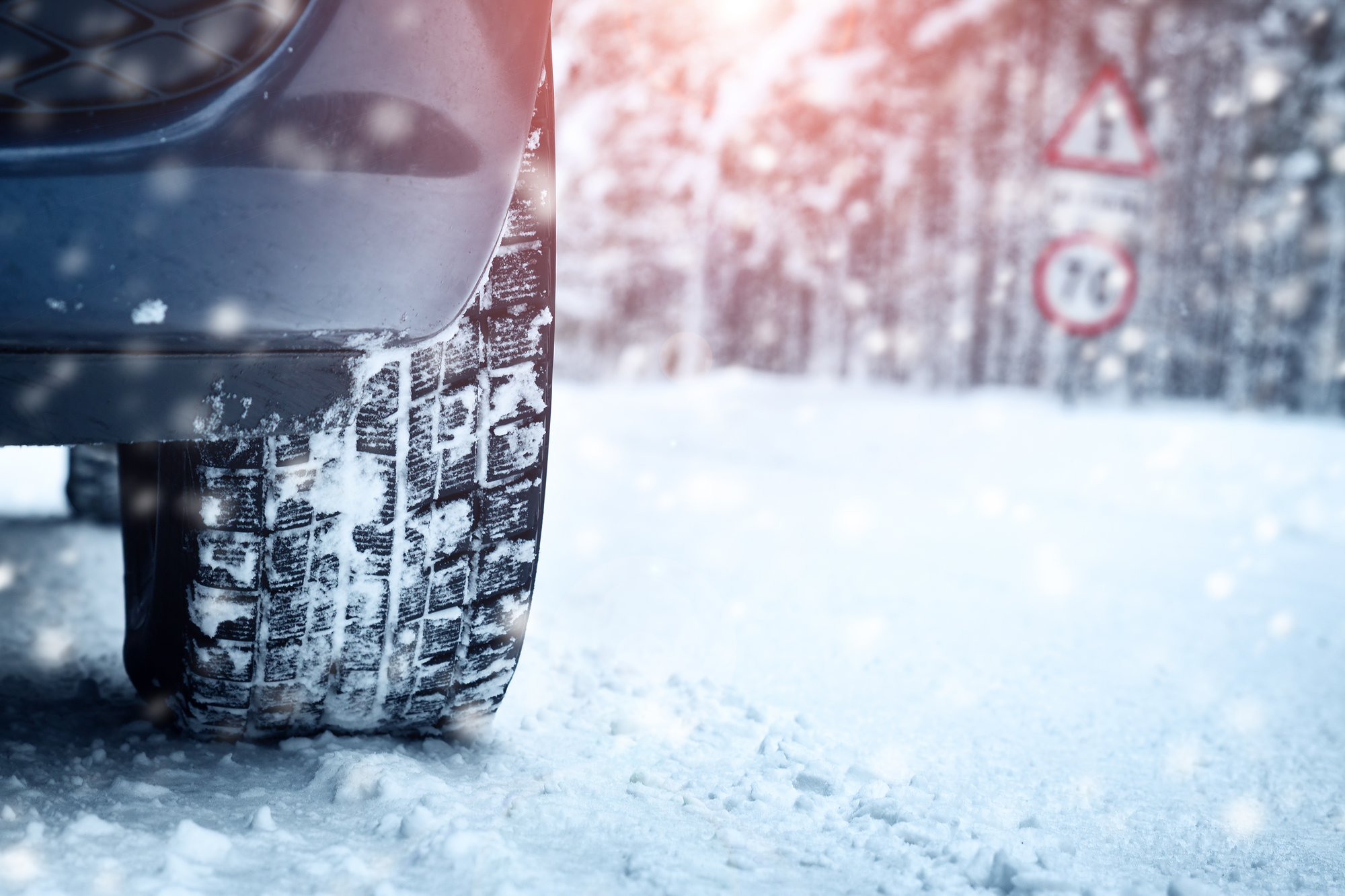 winter tires on a snow-covered road